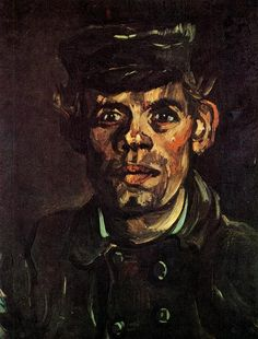 """Vincent van Gogh """"Head of a Young Peasant with a Peaked Cap"""" / March-May Nuenen / Oil on canvas, 39 x 31 cm /Musees Royaux des Beaux-Arts, Brussels Vincent Van Gogh, Van Gogh Art, Art Van, Paul Cezanne, Van Gogh Portraits, Impressionist Artists, Van Gogh Paintings, Oil Painting Reproductions, Dutch Artists"""