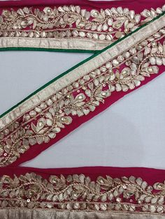 Crafts Indian Embroidered Prom Dress Border 9 Yd Trim Red Craft Lace Gota Work Zari Jade White