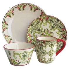 Bring a festive touch to your holiday brunch or soiree with this earthenware dinner set, featuring a seasonal holly berry motif.  Pr...
