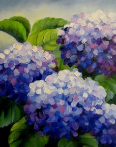 Vertical Hydrangeas - SOLD, painting by artist Nel Jansen Lilac Painting, Hydrangea Painting, Acrylic Painting Flowers, Spring Painting, Acrylic Art, Diy Painting, Painting & Drawing, Flower Phone Wallpaper, Painting Inspiration