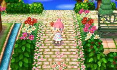 in AC New Leaf — seraphinaewings: Sakura petal laden brick path. - acnl -Fraiseberry in AC New Leaf — seraphinaewings: Sakura petal laden brick path. - acnl - Animal Crossing: New Leaf & HHD QR Code Paths コスモス村の散歩道 [QRコード] 白レンガの花壇 New Leaf QR Paths Only Animal Crossing Qr Codes, Animal Crossing Pocket Camp, New Animal Crossing, Acnl Qr Code Sol, Acnl Paths, Motif Acnl, Leaf Animals, Ac New Leaf, Brick Path