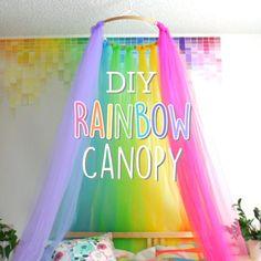 Sleep beneath a rainbow every night with this easy DIY rainbow canopy Rainbow Room Kids, Rainbow Bedroom, Rainbow Stuff, Unicorn Room Decor, Unicorn Bedroom, Big Girl Bedrooms, Little Girl Rooms, Fantasy Bedroom, Dream Rooms