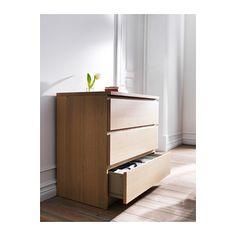 MALM Komoda, 3 szuflady - okleina dębowa bejcowana na biało - IKEA
