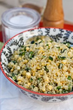 Fresh sweet corn and a slight peppery kick make this healthy quinoa salad perfect warm weather food. Great as a side dish for grilled meals, or on its own as a vegetarian dish. Quinoa Salad Recipes, Vegetarian Recipes, Healthy Recipes, Vegetarian Dish, Grilling Recipes, Cooking Recipes, Healthy Snacks, Healthy Eating, Quinoa Salat