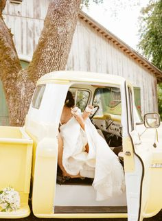 a happy couple and a yellow truck #wedding #photography #happilyeverafter Photography by sylviegilphotography.com  Read more - http://www.stylemepretty.com/2013/09/12/santa-rosa-wedding-from-sylvie-gil-photography/