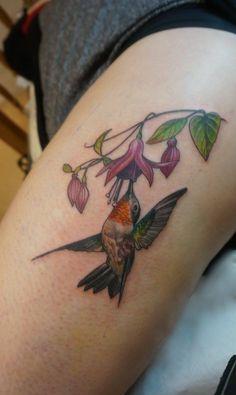 Hummingbird with fuchsia..