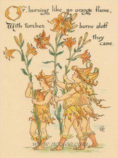 Walter Crane - праздник Флоры: театр масок цветов 1889 -