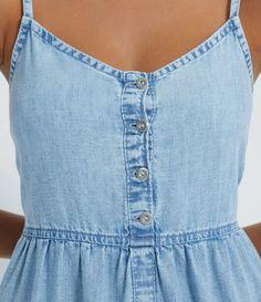 Vestido Midi Jeans com Alças Finas e Babados na Saia Azul All Jeans, Casual, Blue Skirts, Ruffles