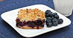 Lemon and blueberry crumble slice