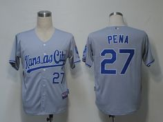 Royals #27 Brayan Pena Grey Cool Base Embroidered MLB Jersey! Only $18.50USD