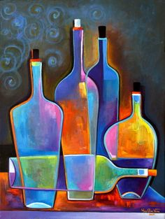 This is an Original Oil Painting by Marlina Vera. TITLE : Cubist WIne PRICE: $400 SIZE: 18 x 24 x 3/4 MEDIUM: Oil on canvas. Black