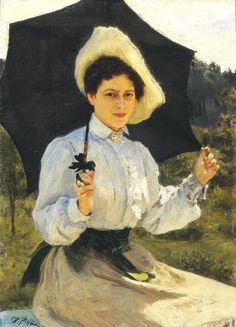 На солнце. Портрет Н.И.Репиной, дочери художника