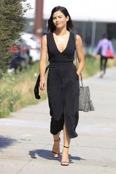 Jenna Dewan Tatum wearing Stuart Weitzman Nudist Sandals in Black Nappa Goosebump and Tom Ford Leather Tassel Bucket Bag