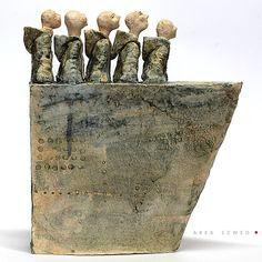 The Boat//Ceramic Sculpture/ Unique Ceramic Figurine/ Blue figurine by arekszwed on Etsy