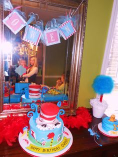 Dr. Seuss birthday cake and smash cake!  Birthday banner by me!