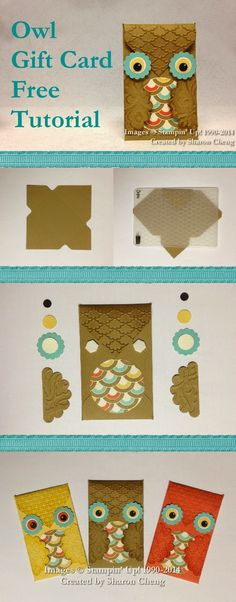 SHARING CREATIVITY and COMPANY: Owl Gift Card Holder with Free Tutorial