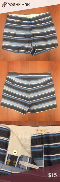 J. Crew blue striped high rise shorts, sz 00 J. Crew blue striped high rise, front pleats, with side pockets. Functional back pockets are still sewn closed.  Excellent used condition J. Crew Shorts