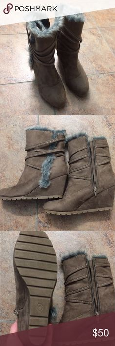 NWOT Tan Suede Fur Lined Boots Perfect condition! They are so cute for fall and winter. The slight wedge makes them fashionable and very easy to walk in. The treads make them good to wear in the snow and ice. Very warm, comfy and cute! Massini Shoes Winter & Rain Boots