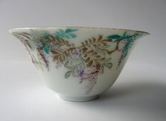 Japanese vintage porcelain sake cup - wisteria with Chinese writing - WhatsForPudding