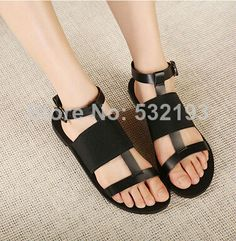 1pair/lot wholesale 2014 new summer women sweet simple rome style genuine leather flat heel sandals casual cut-outs shoes DX1896