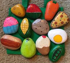 Play Food / Mud Kitchen Painted Rocks, pretend to play, play . - Play Food / Mud Kitchen Painted Rocks, pretend to play, play kitchen … Play Food / - Play Kitchens, Play Kitchen Sets, Mud Kitchen For Kids, Mud Pie Kitchen, Play Kitchen Food, Pretend Play Kitchen, Stone Crafts, Rock Crafts, Arts And Crafts