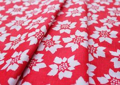 A.E. Nathan Holiday Prints 3650 Poinsettia Red
