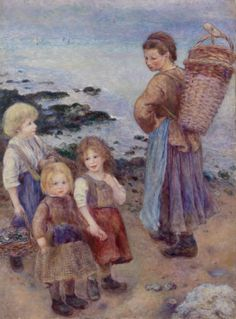 Mussel-Fishers at Berneval (Pêcheuses de moules à Berneval, côte normand) by Pierre-Auguste Renoir, Barnes Foundation Medium: Oil on canvas Barnes Foundation (Philadelphia), Collection Gallery, Room 14, East Wall