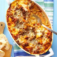 Lasagna Casserole Recipe from Taste of Home -- shared by Deb Morrison of Skiatook, Oklahoma casserole recipes dinners,mediteranian recipes Healthy Potato Recipes, Beef Recipes, Hamburger Recipes, Cooking Recipes, Cauliflower Recipes, Lasagna Recipes, Pasta Recipes With Ground Beef, Recipies, Budget Cooking