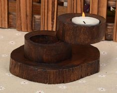 031716 Alien wood candlestick Thai teak arts and crafts candle holder
