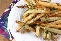 Baked French Fries Recipe with Garlic, Parsley, and Parmesan Cheese | cookincanuck.com