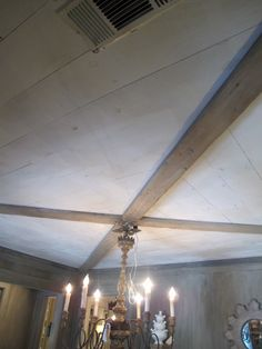 Okay, this is a ceiling. Plywood cut into strips and whitewashed.