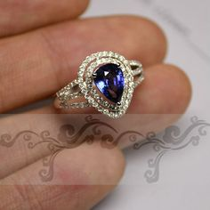 Engagement Ring - 1.1 Carat Sapphire Ring With Diamonds In 14K White Gold