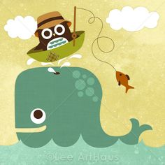 72R Retro Owl with Whale 6x6 Print by leearthaus on Etsy, $15.00