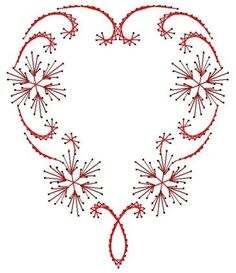 Flowering Heart Swirl  Paper Embroidery Pattern for Greeting Cards: