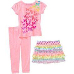 Garanimals Baby Toddler Girl Short Sleeve Graphic Tee, Skort, & Lace Leggings 3-Piece Outfit Set, Size: 25 Months, Pink