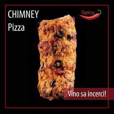 Picant ☑️ acoperit cu salam Italian Ventricina ☑️ brânza cedar☑️ parmezan ☑️ măsline ☑️ Pizza Vino, Spicy Pizza, Chimney Cake, Steak, Bakery, Good Food, Menu, Chicken, Menu Board Design