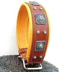 "Bestia ""EROS"" genuine leather dog collar Large breeds cane corso Rottweiler Boxer Bullmastiff Dogo Quality dog collar 100% leather studded L- XXL size 2.5 inch wide. padded. Made in Europe! L- fits a neck of 19.7 - 23.6 inch"