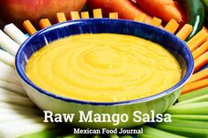 Spicy raw mango salsa with serrano chile and lime juice. Great served with a vegetable platter or cocktail shrimp.