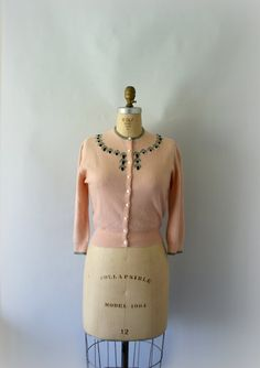 1950s Vintage Cardigan  50s Pink Cashmere by Sweetbeefinds on Etsy, $88.00
