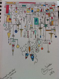 Today's tangle. Pen, Derwent watercolour pencils and intense pencils.