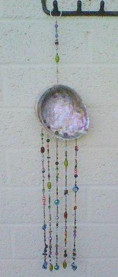 hanging art: shell, glass beads, Swarovski crystals