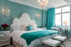 Best Home Decoration Tips 20 Charming Aqua Blue Bedrooms Color Designs With Pictures In 51895348 Aqua Blue Bedrooms, Blue Bedroom Paint, Blue Bedroom Colors, Blue Bedroom Decor, Living Room Colors, White Bedroom, Master Bedroom, Bedroom Ideas, Cosy Bedroom