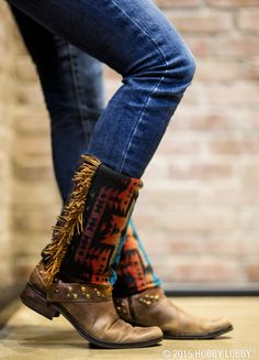 Recycle an old pair of socks by: Cutting off the foot section Hem the raw… Diy Clothes And Shoes, Boot Jewelry, Boho Boots, Boot Bling, Embellished Shoes, Boot Cuffs, Fringe Trim, Brown Suede, Cute Outfits