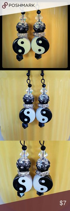 HANDCRAFTED Your the YING 2 MY YANG EARART HANDCRAFTED BY ME WITH TONS OF LOVE ❣ALWAYS Made of high quality BEADS AND MATERIALS AND REAL SWAVORSKI CRYSTALS TOO ❣ 1 OF A KIND DESIGNED EARART ❤❣🎁 MY OWN Jewelry Earrings
