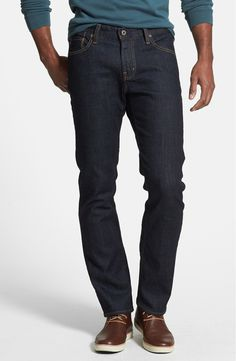 online shopping for AG Graduate Slim Straight Leg Jeans (Jack) from top store. See new offer for AG Graduate Slim Straight Leg Jeans (Jack) Mens Wardrobe Essentials, Men's Wardrobe, Wardrobe Basics, Dark Wash Jeans Mens, Dark Denim, Men's Denim, Nordstrom Jeans, Shop Nordstrom, Business Casual Attire