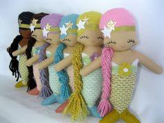 Molly Mermaid Cloth Rag Doll MADE TO ORDER por rileyconstruction