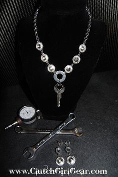 """www.clutchgirlgear.ccom  """"Classy and cool, our vintage muscle car necklace makes a statement. Perfect for the track, car shows, or everyday wear. Can be made with the muscle car car key of your choice and paired with a matching earring set or with our Counter Weight earrings."""""""