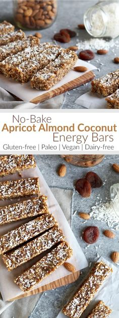 Up level your snack game with these vegan & paleo friendly, refined sugar-free, no-bake Apricot Almond Coconut Energy Bars. A perfectly packable and tasty snack. | The Real Food Dietitians | http://therealfoodrds.com/apricot-almond-coconut-energy-bars/