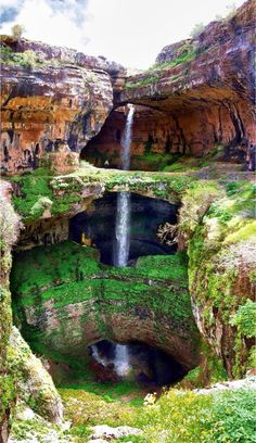The Baatara gorge waterfall.The Baatara gorge waterfall (Balaa gorge waterfall) is a waterfall in the Tannourine, Lebanon. The waterfall drops 255 metres ft) into the Baatara Pothole, a cave of Jurassic limestone located on the Lebanon Mountain Trail. Places Around The World, Around The Worlds, Les Cascades, Adventure Is Out There, Amazing Nature, It's Amazing, Vacation Spots, Vacation Travel, Vacations