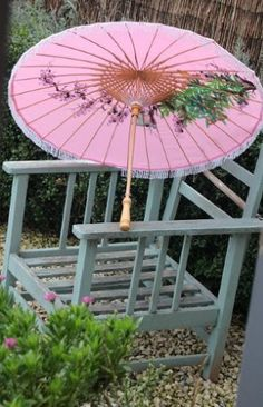 Pink Umbrella with french blue chair